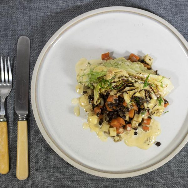 PCP1712 - Pan-seared and cream-braised winter cabbage with puy lentils, celeriac, carrots and thyme (v): DELIVERY FRIDAY 4TH DECEMBER