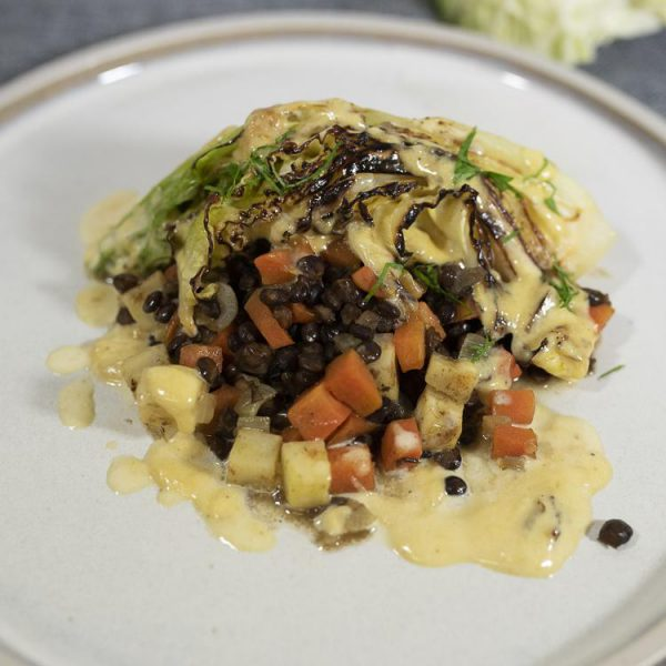 PCP1721 - Pan-seared and cream-braised winter cabbage with puy lentils, celeriac, carrots and thyme (v): DELIVERY FRIDAY 4TH DECEMBER